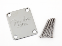 FENDER 4-Bolt American Series Guitar Neck Plate with `Fender® Corona` Stamp (Chrome)