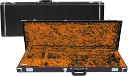 FENDER G&G Deluxe Precision Bass Hardshell Case, Black with Orange Plush Interior, Amp Logo