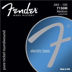 FENDER Original 7150 Bass Strings, Pure Nickel, Roundwound, Long Scale, 7150M .045-.105 Gauges, (4)