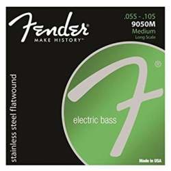FENDER Stainless 9050`s Bass Strings, Stainless Steel Flatwound, 9050M .055-.105 Gauges, (4)