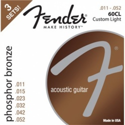 FENDER Phosphor Bronze Acoustic Guitar Strings, Ball End, 60CL .011-.052 Gauges, 3-Pack