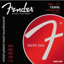 FENDER 7250 Bass Strings, Nickel Plated Steel, Long Scale, 7250-5L .040-.115 Gauges, (5)