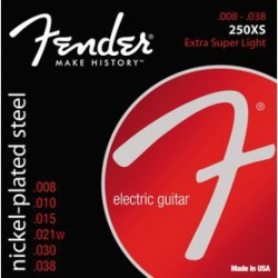 FENDER Super 250 Guitar Strings, Nickel Plated Steel, Ball End, 250XS Gauges .008-.038, (6)