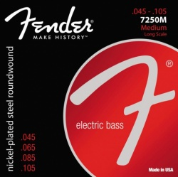 FENDER 7250 Bass Strings, Nickel Plated Steel, Long Scale, 7250M .045-.105 Gauges, (4)