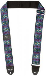 FENDER Eric Johnson `The Walter` Signature Strap, Blue with Multi-Colored Triangle Pattern