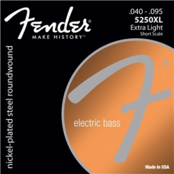 FENDER Super 5250 Bass Strings, Nickel-Plated Steel Roundwound, Short Scale, 5250XL .040-.095 Gauges, (4)