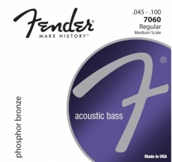 FENDER 7060 Acoustic Bass Strings, Phosphor Bronze, .45-.100 Gauges, (4)