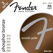 FENDER Phosphor Bronze Acoustic Guitar Strings, Ball End, 60L .012-.053 Gauges, 3-Pack