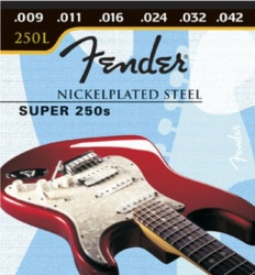 FENDER Super 250 Guitar Strings, Nickel Plated Steel, Ball End, 250L Gauges .009-.042, (6)