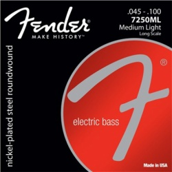 FENDER 7250 Bass Strings, Nickel Plated Steel, Long Scale, 7250L .040-.100 Gauges, (4)