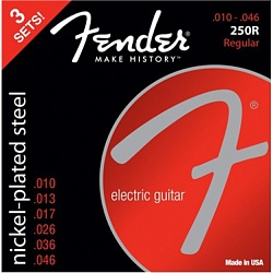 FENDER Super 250R NPS Ball End Strings (.010-.046 Gauges) 3-Pack