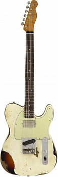 FENDER 2018 LTD HEAVY RELIC® REVERSE CUSTOM HS TELE® - AGED OLYMPIC WHITE over 3-COLOR SUNBURST