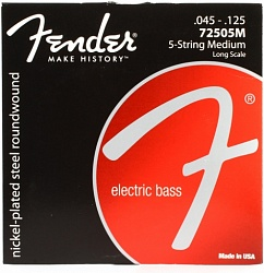 FENDER 7250 Bass Strings, Nickel Plated Steel, Long Scale, 7250-5M .045-.125 Gauges, (5)