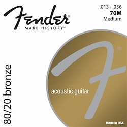 FENDER 80/20 Bronze Acoustic Strings, Ball End, 70M .013-.056 Gauges, (6)