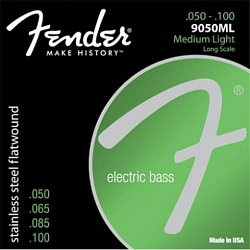 FENDER Stainless 9050`s Bass Strings, Stainless Steel Flatwound, 9050ML .050-.100 Gauges, (4)
