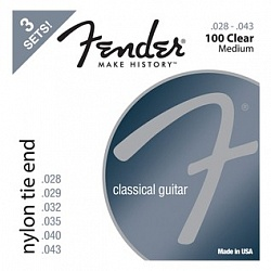 FENDER Nylon Acoustic Strings, 100 Clear/Silver, Tie End, Gauges .028-.043, 3-Pack