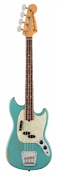 FENDER JMJ Road Worn® Mustang Bass®, Rosewood Fingerboard, Faded Daphne Blue электрогитара