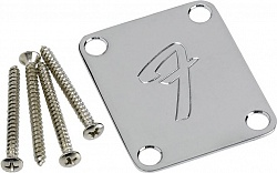 FENDER NECK PLATE - `F`, CHROME