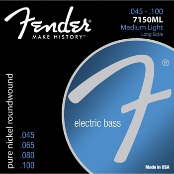 FENDER Original 7150 Bass Strings, Pure Nickel, Roundwound, Long Scale, 7150ML .045-.100 Gauges, (4)