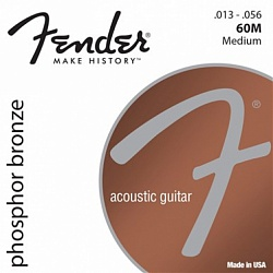 FENDER Phosphor Bronze Acoustic Guitar Strings, Ball End, 60M .013-.056 Gauges, (6)