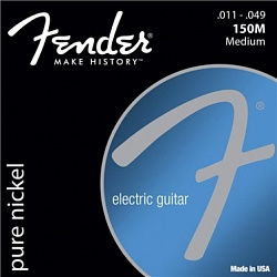 FENDER Original 150 Guitar Strings, Pure Nickel Wound, Ball End, 150M .011-.049 Gauges, (6)
