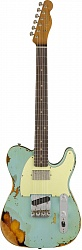 FENDER 2018 LTD HEAVY RELIC® REVERSE CUSTOM HS TELE® - AGED DAPHNE BLUE over 3-COLOR SUNBURST
