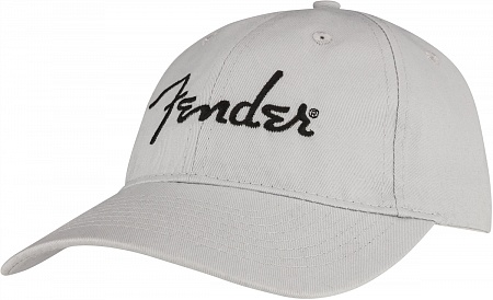 FENDER EMBROIDERED LOGO DAD HAT, SILVER