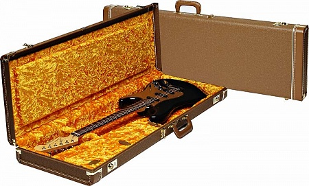 FENDER G&G Deluxe Jaguar/Jazzmaster/Toronado/Jagmaster Hardshell Case, Brown with Gold Plush Interior