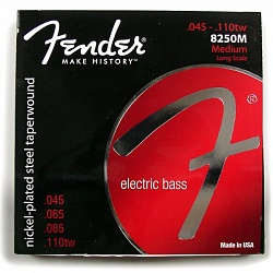 FENDER 8250 Bass Strings, Nickel Plated Steel Taperwound, Long Scale, 8250M .045-.110 Gauges, (4)